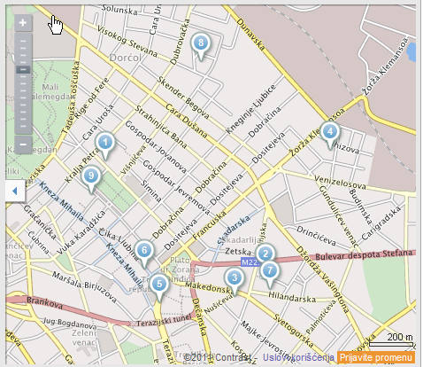 Stari grad Mapa Grada Beograd i pojava osinjaka u istim