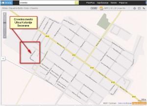Mapa grada Crvenke i ulice Kolonije Secerane 6-A.