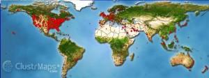 Geografska mapa sveta sa najucestalijim lokacijama pojave stenica Klik na sliku gore levim misem za prikaz fotografije  sa svim detaljima  Najnoviji strucni seminari na pojavu,istorijata,lecenja,prevencije,ubode i ujede stenica