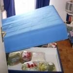 Prikaz francuskog kreveta zahvacenim stenicama.Sva garderoba je po tretmanu stavljena u kesama.