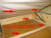 Primer pripreme Klik-Klak lezajeva pred tretman.Sav sadrzaj kreveta od garderobe i licnih stvari se pre toga mora izvaditi vani pred pocetak doziranja preparat.Crvene strelice pokazuju mesta gde se stenice obicnu kriju iako se pri dnevnom svetlu takoreci ne vide jer su sakrivene u supljinama prikazanim na slici.