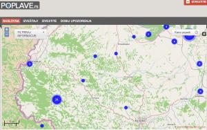 Loznica i deo Loznickog okruga zahvacenim poplavama sto je prikazano plavim krugovima koji su postavili sami zitelji tog mesta koristeci servis poplave.rs