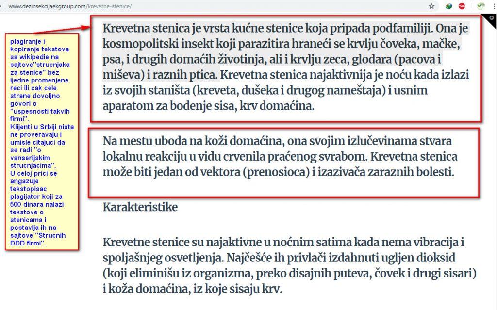 Plagirani tekstovi sa wikipedije na laznom DDD sajtu lazne DDD sluzbe iz Beograd.
