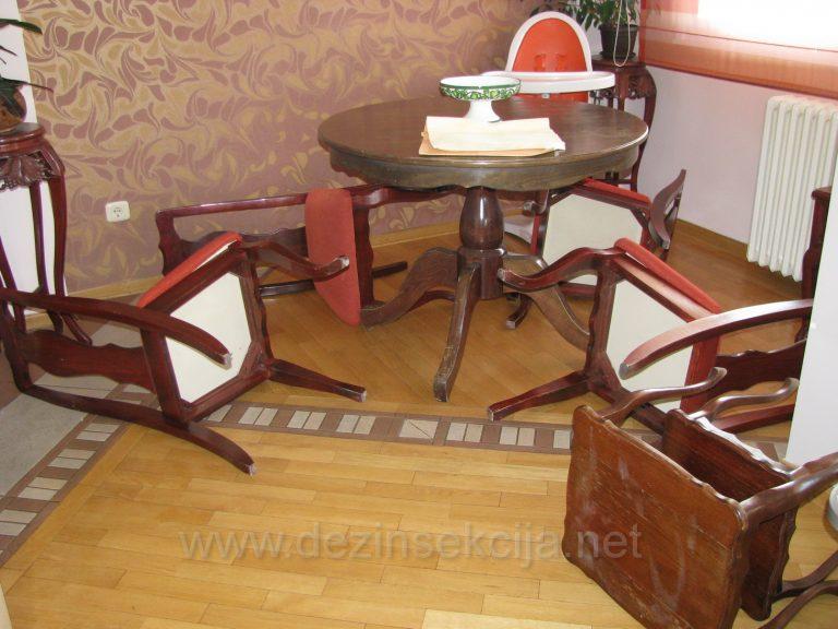 Postupak sanacije stolica zahvacenim stenicama.