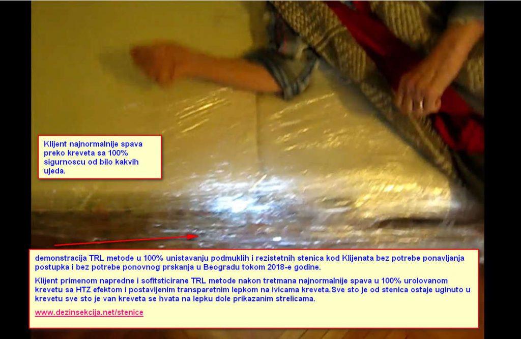 Primena TRL metode u 100% regulaciji krevetnih stenica.Krevet je urolovan namenskim ultra tankin izdrzljivim PVC strech folijama,osiguran dodatno izdrljivom HTZ providnom selotejp industrijskom trakom i postavljen je insekticiodni lepak za hvatanje stenica 100% transpentan,bez boje,mirisa i ukuca.Ovom metodom sve od stenica ostaje uginuto u krevetu.,Klijent spava najnormalnije bez potrebe ponavljanja postupka i bez daljih ujeda a sve sto je van kreveta spavajuci pokrece stenice iz svojih skrovista u uticnicama-lajsnama-garnislama-ramova slika-prozora i vrata i hvata na insekticiodnom lepku.TRL metoda je jedina 100% efektivna metoda u regulaciji stenica sa kojom smo stekli demonstrativno i po preporuci prethodnih zadovoljnih klijenata ogroman broj Klijenata i van Srbije konkretno hoteli i hostesli u Hrvatskoj-Sloveniji-Austriji-Svajcarskoj i Nemackoj.Ucite od profesionalaca.Klik na autenticnu fotografiju za prikaz svih detalja.