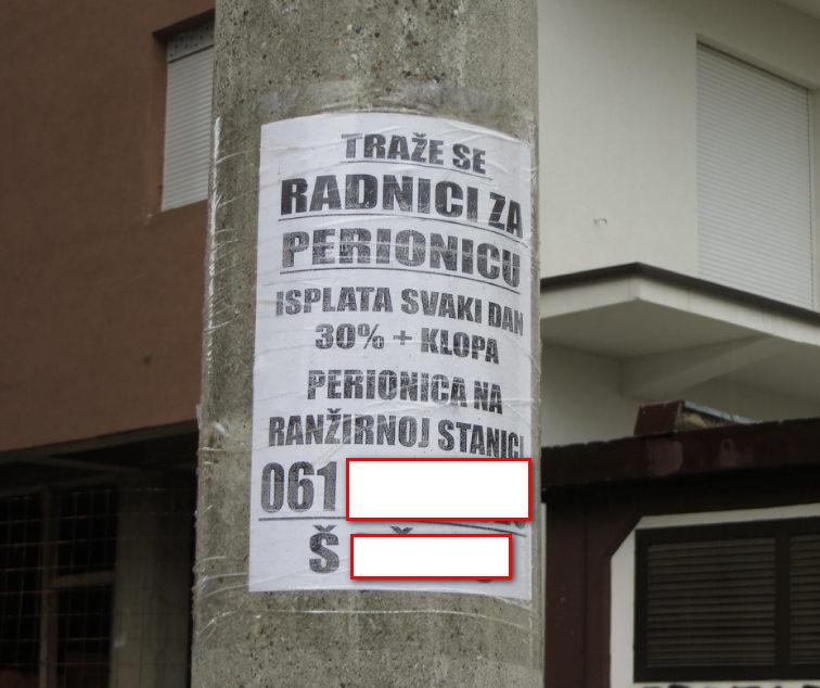 Oglasi za radnike na svakom autobuskom stajalistu u Beogradu.Zainteresovanih je slabo cak i sa platom od 40 hiljada dinara.