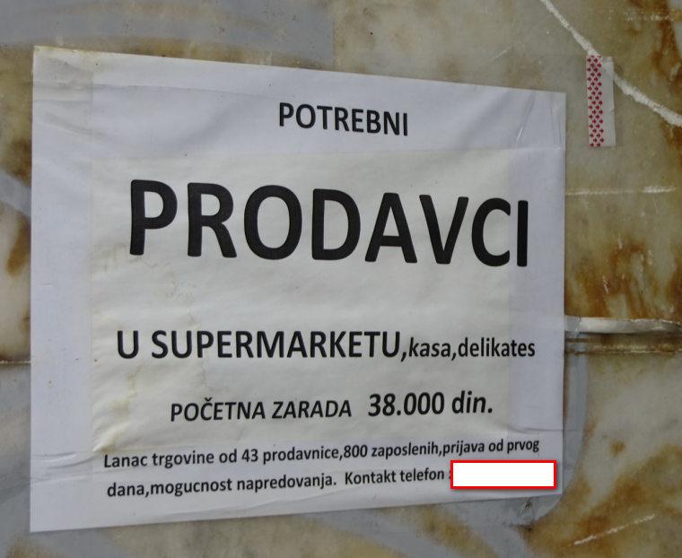 OGlasi za radna mesta se obnavljaju i lepe svakih par dana.Poslodavci u Beogradu i Srbiji ne shvataju da ispod 500 eura/60 hiljada dinara je jako tesko naci bil kakvgo edukovanog radnika koji ce pristati da radi specijalisticke poslove u Beogradu u2 2019-oj a narocito u 2020-oj kada Nemacka otvori vrata za slobodno zaposljavanje strucnjaka za gradjane van EU.