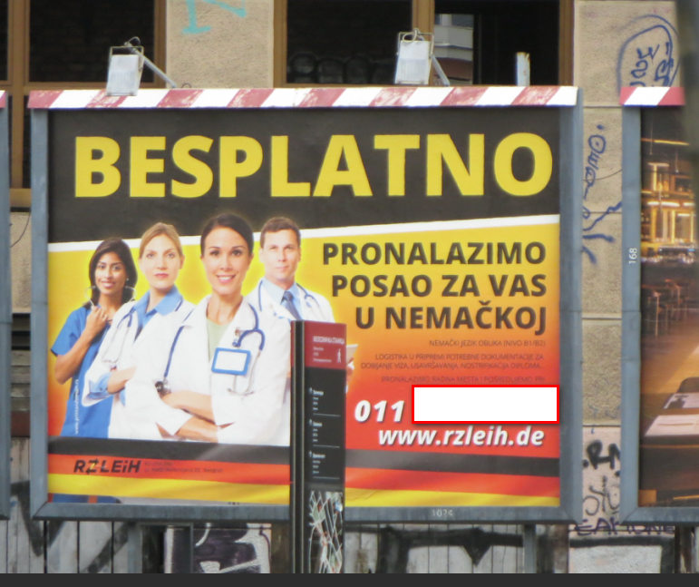 BESPLATNO PRONALAZENJE POSLOVA U NEMACKOJ.Bilbord ispred glavne autobuske stanice u Boegradu u jednoj fotografiji govori vise od MILION RECI ZASTO NEMA VISE KVALITETNIH STRUCNJAKA U SRBIJI nti ce ih IKADA I BITI kao prethodnih godina po sadasnjim platama koji su neodrzive za osnovni zivot osobe i porodice u Evropi ne u centralnoj Africi.