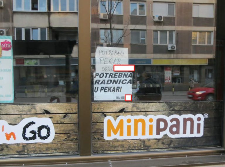 Oglasi za pekare glavne majstor i prodavacice u strogom centru Beograda stoji upraznjen vec vise nedelja.Lokal je zatvoren jer nema radnika cak i za 50 hiljada dinara/400 eura plate u maloprodaji.Na 50 metara preko puta na autobuskom stajalistu oglas za radnike u Slovenije sa ponudjenom startnom platom od 1100+ eura.Zakljucak ko ce ostati u SRbiji od radnika je vrlo prost i jednostavan.
