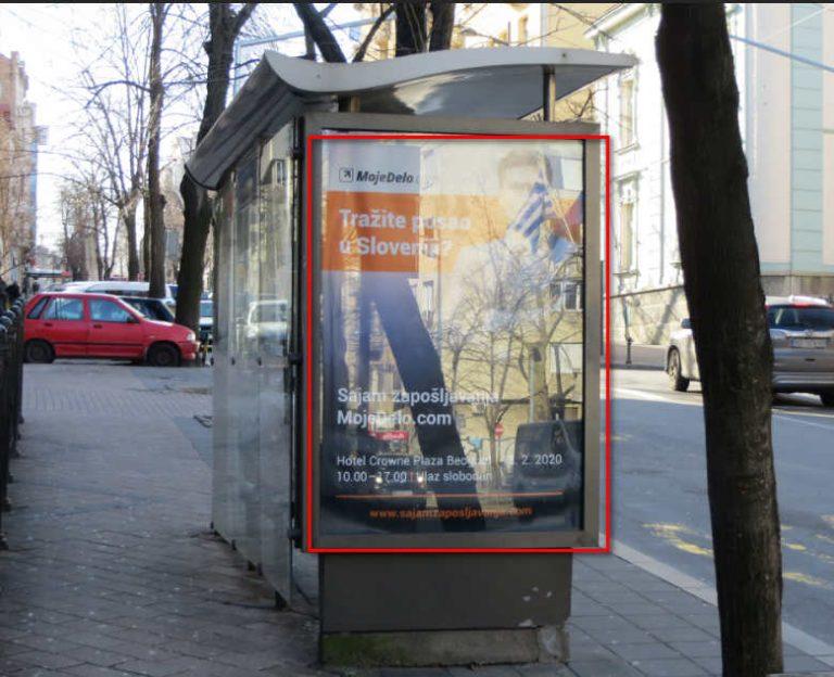 Jedan od stotine javnih oglasa na svim Beogradskim udarnim autobuskim stajalistima u centru grada,ulica Francuska u centru Beograda,oglasi za sve profile radnika u Sloveniji.Pomama za radnom snagom iz Srbije u drzavama EU je toliko da domaci poslodavci i korisnici bilo kakvih usluga u SRbiji nemaju svest o tome,zive u uverenju da je i dalje 1999a ili 2002 a godina.
