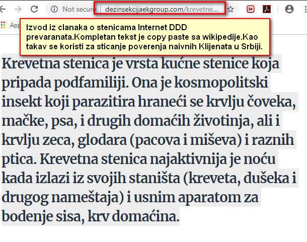 """Originalan tekst sa wikipedije pre više od 20 godina vešto upakovan na sajtu DDD prevaranata sa """"30 godina u iskustvu u radu sa stenicama za 1800 dinara/15 eura kompresorom sa šest milijardi čestica...""""."""