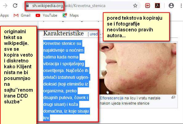 """Originalni tekst o karakteristikama stenica sa wikipedije 100% kopiran neovlašćeno na sajtovima Internet DDD prevaranata u Beogradu.Dnevno se dobije i preko 100 poziva nevoljnika u 2 milionskom gradu sa stenicama.Nakon pročitanog plagiranog sajta sa wikipedije Klijent poziva""""stručnjake"""" sa plagiranim sadržajem iz wikipedijinih članaka ne sumnajući ništa.Na vratima dolazi lice koje nije nikakav tehnolog ili biolog već lice usmereno isključivo na brzu zaradu od lakovernih klijenata nakon uključivanja""""kompresora sa milijardu čestica"""".Kao aktivni preparat se koristi Etiol jer je vrlo jeftin i svima dostupan.Na stenice ne može Etiol da deluje već koktel preparata za koji je potrebno znanje o organskoj i neorganskoj hemiji i sanitarnom inženjeringu.To Klijente u Srbiji ne interesuje ONI SAMO ČITAJU CENU i ništa drugo osim CENE IH NE INTERESUJE.Nakon par meseci zovu i predstavljaju NAČINE KAKO SU OBMANUTI,PREVARENI i OSTAVLJENI NA CEDILU nakon čitanja vešto plagiranog sajta sa sadržajem iz wikipedije."""