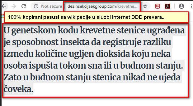 """U genetskom kodu stenice..Teksta sa wikipedije kako se dalje čita sajt""""DDD stručnjaka""""."""