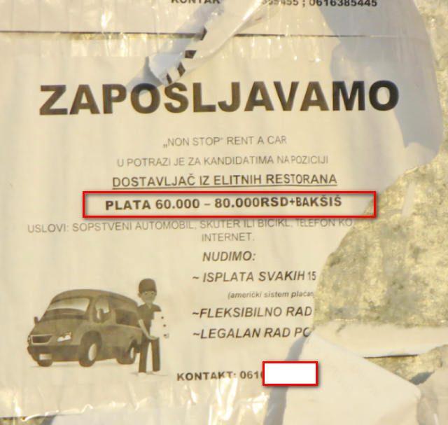 Novi sad,pocetkom januara 2020 e godine.Oglasi za usluzne radnike u centru grada.Glavna autobuska stanica.Vrsta posla dostavljaci hrane za eksluzivne restorane sa sopstvenim vozilom u nedostaku vozila poslodavac uposljeva i dostavljace na moticklu ili biciklu.Ponudjena plata od 60 hiljada dinara/520 eura za dostavljace na bicklu do 80 hiljada dinara/670 eura za dostavljace sa sopstvenim vozilom plus baksis.ZAINTERESOVANIH NEMA.Autorska i autenticna fotografija nasih izvrsioca u pauzi izmedju dva tretmana na dorucku i prolazu kroz glavnu autobusku stanicu u Novom Sadu u Vojvodini pocetkom meseca januara 2020 e godine.Jagma za dostupnim i preostalim kvalitetnim radnicima sa radnim iskustvom prevazilazi sve raspolozive ljudske resurse.Klijenti bilo kakvih usluga ne samo dezinsekcije i deratizacije vec i ostalih majstorskih i manuelnih usluga to ne shvataju.PRetpostavljaju da se dobar radnik i majstor nalazi za 10 eura kao u 1995 oj ili 2001 oj godini.