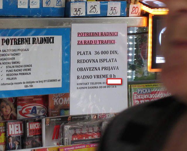 36 hiljada je pocetna plata radnika na kiosku u Beogradu na oglas se javljaju iskljucivo stariji penzioneri.Mladi vise ne zele nista da rade u Srbiji ni za jedan novac jer se osecaju ponizenim.prevarenim i marginalizovanim.Sa druge strane firme u Austriji i Nemackoj placaju pocetnih 1400 eura po radniku sa obezbedjenim smestajem i prevozom.Emigracija strucne radne snage je prevelika i poslodavci u Srbiji ce ili morati povecati plate ili ce zatvoriti firmu.I to malo preostalih penzionera koje pristaje da radi za par godina vise nece moci obavljati svoje radne funkcije zbog godina.