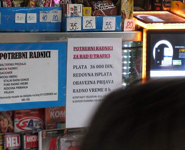 Oglas za radnike na kiosku 36 hiljada dinara 300 eura u Beogradskoj opstini Vozdovac vec vise meseci zainteresovanih nema.