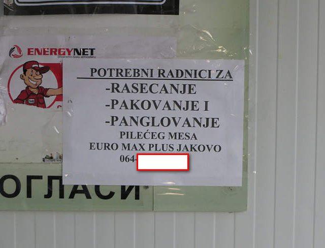 Oglas za radnike na svakom autobuskom stajalistu u Surcinu,periferija Beograda oktobar 2019.