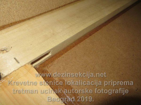 Dezinsekcija stenica u hotelima i hostelima.Primer silikonizacije kreveta kako se stenice ne bi više zavlačile od strane novih putnika.Autorska radna fotografija Klijent hostel u centru grada Beograda 2016 e godine.