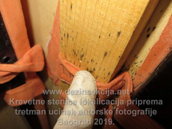 Crne flekice ispod šavova kreveta što je zvaničan dokaz postojanja Cimex Lectularius a odnosno krevetne stenice.Sve te crne flekice je nus produkat nečije usisane krvi.