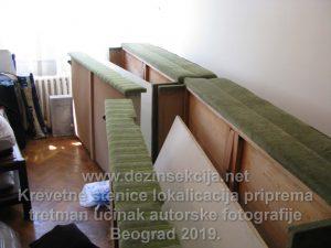 Rasklopljeni kreveti pred tretmanom u suzbijanju stenica.Prikaz Klijenta sa Novog Beograda 2018 e godine.