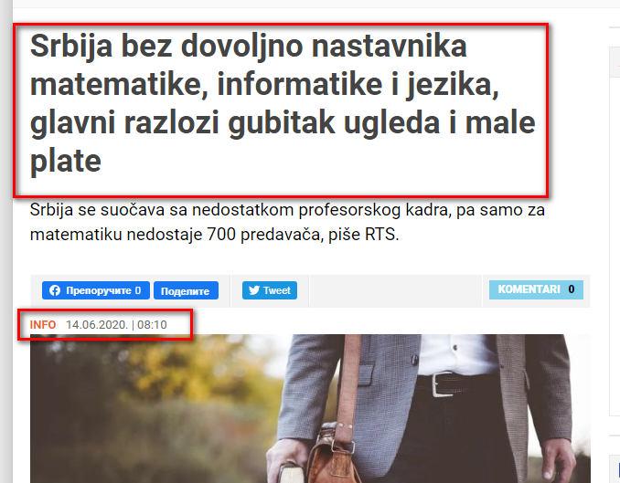 """Tek sada i svi mediji u Srbiji među kojima je i nacionalni RTS objavljuju činjenicni podatak o ENORMNOM NEDOSTATKU ne samo majstora i profilisane radne snage već i ono što pokreće svaku ekonomiju sveta-prosveta i obrazovanje.Najnoviji članak portala 021.rs za 14 juni 2020 o NEOPISIVOM NEDOSTATKU PRE SVEGA PROSVETARA i PREDAVAČA ne samo majstora.Zvanični podatak da samo Beogradu nedostaje preko 1000 prosvetara i predavača.Klijenti korisnici usluga ne samo dezinsekcije i deratizacije već i korisnici usluga bilo kojih delatnosti su u čudu sa pitanjem""""NAMA SU BILI VEĆ TRI SLUŽBE I NIJEDNA NIJE REŠILA PROBLEM BUBAŠVABA-MRAVA-STENICA-BUVA-MOLJACA..."""".Svako sa veštinama i obrazovanjem odlazi iz Srbije ili se sprema da ode ako nije već otišao/otišla.OStaju prinaučeni samozvani""""majstori"""" i ogroman broj ne edukovanih Klijenata koji žive u 1995 oj ili 2005 oj godini u vremenu dobrih i jeftinih i majstora i predavača i vozača i inženjera.U dobi 800 hiljada uposlenih na Budžetu R.SRbije sa nedovoljno ili vrlo malo znanja a neretko i sa kupljenim diplomama pravi majstori i obrazovani profesionalci CENE SVOJE USLUGE i ne pristaju da rade ništa više ispod 100 eura dnenvice ako se radi o poslovima specijalističkih usluga.Korisnicima i uposlenim u administraciji sa kupljenim diplomama to nije jasno.Ne mogu da shvate da je njima plata 300 eura a običan majstor u 2020 oj godini koji dolazi da isprska stan od bubašvaba SA GARANCIJOM traži 50 ili 100 eura za svoj rad odnosno trećinu nečije mesečne plate u administraciji ili na Budžetu R.Srbije.Prognoze su da do kraja 2020 e godine dobar profilisan i obrazovan kadar u Srbiji na zanatskim poslovima neće ništa raditi ispod 1500 eura mesečne plate i to kao radnik ne kao preduzetnik usled ionako enormne potražnje za iskusnim majstorima i radnicima u platežnim EU državama."""