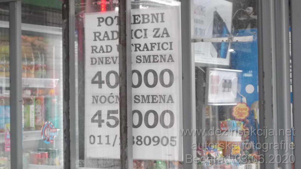 """Oglas za obične prodavce na svakom kiosku i to na periferiji Beograda ne u centru grada sa početnom platom od 45 hiljada dinara strogo 7 sati rada ZAINTERESOVANIH NEMA.Fotografija naših terenskih ddd tehnologa u pauzi između dva tretmana je još jedan činjenični dokaz da odlazi ono najbitnije iz Srbije-kvalitetna i edukovana radna snaga sa veštinama.Prognoze su do kraja 2020 e da će cene rada ići i 100 hiljada dinara po običnom servisnom radniku u Srbiji.Nažalost kvalitetni radnici ne odlaze iz Srbije samo zbog niskih plata već i zbog totalno neuređene države u pravnom,socijalnom i autoritativnom smislu reči.Sankcionisanje poslodavaca koji neplaćaju radnike se toleriše decenijama.U 2020 oj poslodavci su u čudu da ne mogu naći kvalitetnih radnika """"čak i za 50 hiljada dinara..."""".Niko ne želi više ništa da radi u državi gde je životni cilj svakog poštenog,savesnog i odgovornog radnika u toj državi OTIĆI IZ TE DRŽAVE."""