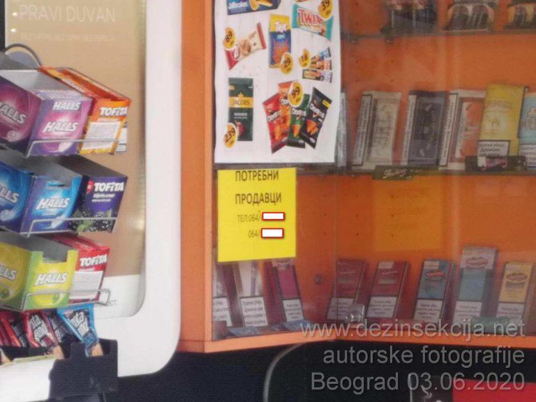 Oglasi za prodavce na svakom kiosku u Beogradu sa početnom platom od 45-50 hiljada.Oglasi su istaknuti na svakom kiosku.Zainteresovanih nema.