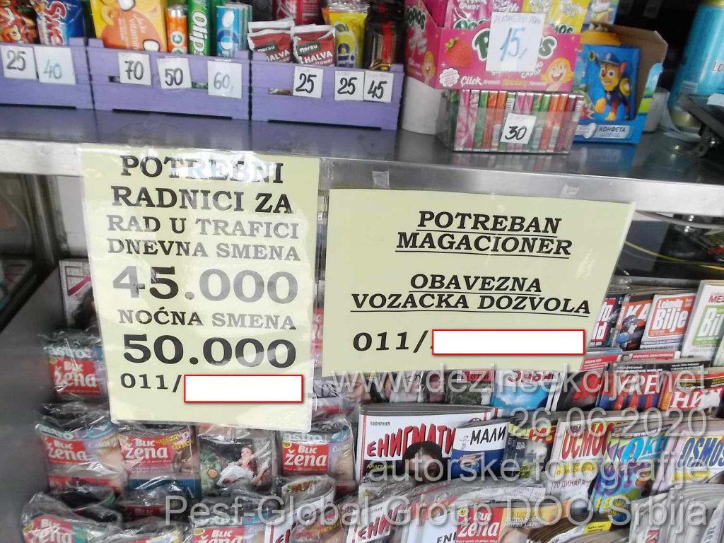 """Potraživanje običnih radnika na kiosku sa platom od 50 hiljada dinara i to periferija grada Beograda,strogo sedam sati rada,zainteresovanih nema.Najnovija autorska reportaža naših terenaca za 28 juni 2020 e godine.Nema magacionira takođe.Korisnici usluga dezinsekcije i deratizacije u Beogradu,Novom Sadu i ostalim mestima nas zovu sa pitanjem""""Kako to da ne mogu više naći nikoga ko radi dezinsekciju i deratizaciju?"""".Nema više normalnih radnika u Srbiji.To što je ostalo od normalnih radnika traži minimum 700-800 eura plate ili u najbolje slučaju 5 hiljada dinara dnevnice.I traži isplatu svog rada SVAKOG DANA ne pristaje više na nikakve mesečne plate."""