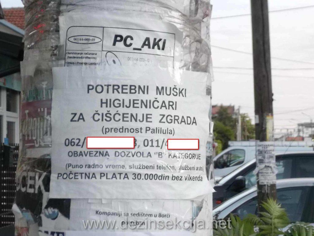 Oglas za higijeničare zgrada za svega 30 hiljada -250 eura plate u Beogradu.I ovom poslodacu želimo puno sreće u pronalaženju čistača totalno uprljanih i neodržavanih zgrada u Beogradu za 15 eura dnevnice sa radom od jutra do mraka i izlaganjima svih vrsta virusa i bakterija čije lečenje poslodavac kasnije sigurno neće isplatiti neupućenom radniku ako ikada i pronađe jednog jedinog radnika.
